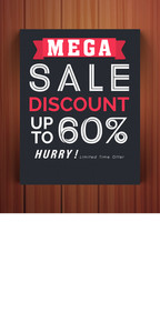 Stylish Mega Sale flyer banner or template with 60% discount offer on glossy wooden background.