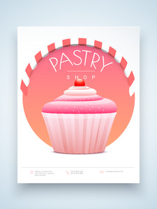 Stylish menu card design for Pastry Shop and Restaurant with illustration of pink cupcake.