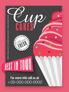 Stylish menu card design for sweet Cup Cakes shop or bakery.