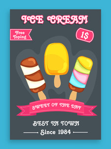 Stylish menu card design for sweet Ice Cream with free toppings offer.Menu card design for ice cream.