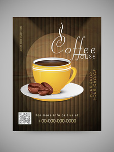 Stylish Menu Card Template or Flyer for Coffee House decorated with cup of coffee and cocoa beans.