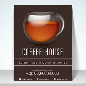 Stylish menu for coffee shop with address bar place holder and mailer.