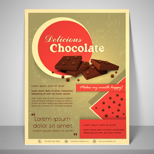 Stylish menu for delicious chocolate with address bar place holder and mailer.