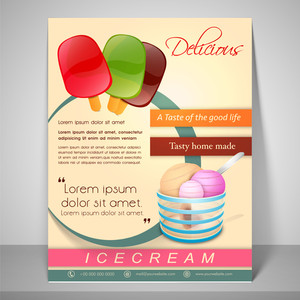 Stylish menu for delicious ice cream with address bar place holder and mailer.