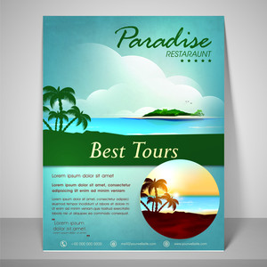 Stylish nature view flyer for best tours with address bar and mailer.