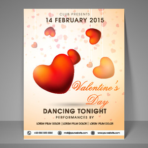 Stylish night party flyer banner or template decorated by glossy red hearts for Happy Valentines Day celebration.