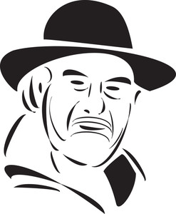 Stylish Old Jewish Man's Face.
