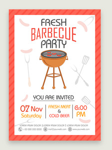 Stylish one page Flyer Banner or Template for Fresh Barbecue Party celebration.