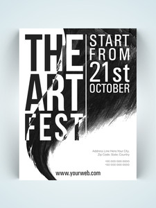 Stylish one page Flyer Banner or Template in black and white colors for Art Fest celebration.