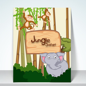 Stylish poster banner and flyer for jungle sfari with kiddish animal on forest view.