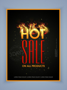Stylish poster banner or flyer design of Hot Sale for limited time.