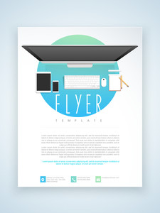 Stylish professional flyer template or brochure design for technology concept.