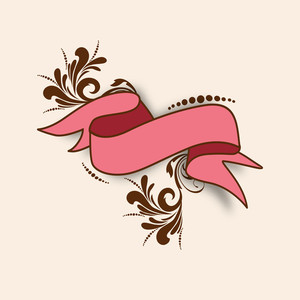 Stylish Ribbon Or Banner Design On Abstract Background.