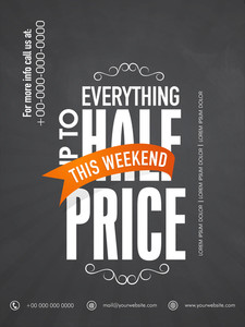 Stylish sale flyer banner or poster design with half price discount on everything.