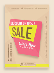 Stylish sale flyer banner or template with best discount offer.
