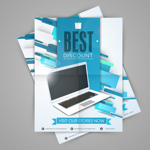 Stylish sale template flyer or banner design with laptop.