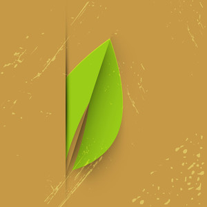 Stylish Save Nature Background With Green Leaf On Grungy Brown Background.