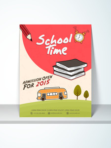 Stylish School Time flyer template or banner design decorated with stationary and bus.