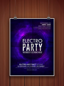 Stylish shiny purple flyer banner or template for Electro Party celebration hanging on wooden background.