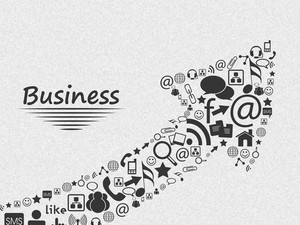 Stylish social media and marketing elements in shape of up side growth arrow for Business concept.