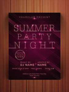 Stylish Summer Party Night flyer banner or template design on wooden background.