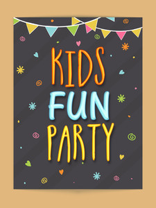 Stylish template banner or flyer design for Kids Fun Party.