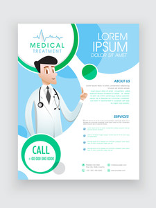 Stylish template brochure or flyer presentation with illustration of doctor for Medical Treatment.