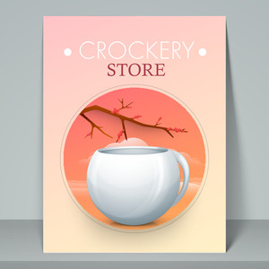 Stylish template flyer or banner for crockery store with cup.