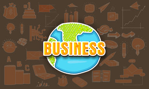 Stylish text Business on creative globe with various business infographic elements for your print