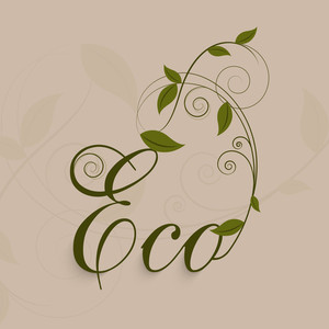 Stylish Text Eco With Green Leaves