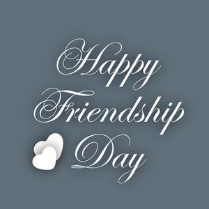 Stylish Text Happy Friendship Day On Grey Background