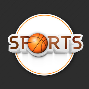 Stylish Text Sports With Basketball On Grey Background
