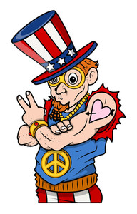Stylish Uncle Sam Peace & Victory 4th Of July Vector Illustration