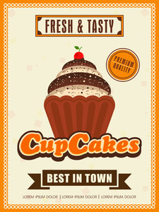 Stylish vintage menu card design for cupcakes shop or restaurant.