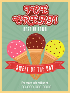 Stylish vintage menu card design for ice cream parlour or restaurant.