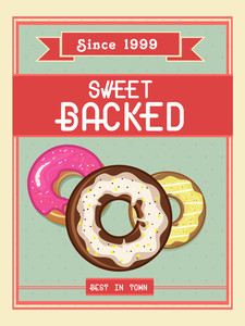 Stylish vintage menu card design for sweet backed shop or restaurant.Flyer or menu card for sweet backed shop.