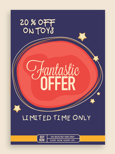Stylish vintage Sale poster banner or flyer design with fantastic discount offer on toys for limited time.