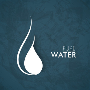 Stylish Water Drop Icon With Text Pure Water.