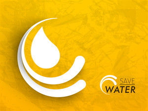 Stylish Water Drop Icon With Text Save Water On Grungy Background