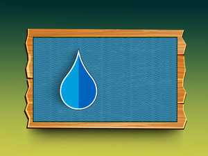 Stylish Water Drop In A Blue Frame With Space For Your Text