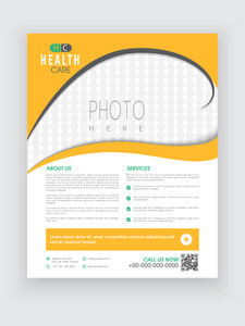 Stylish yellow and white Health Care flyer with blank space for your image.