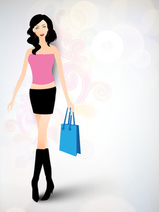 Stylish Young Girl With Shopping Bag On Floral Decorated Colorful Background