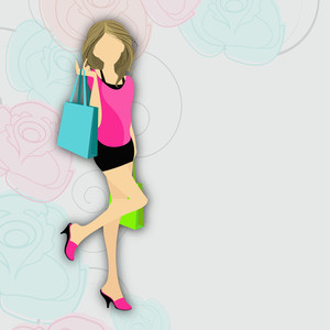Stylish Young Girl With Shopping Bags On Floral Decorated Backgound