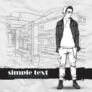 Stylish Young Guy At Subway Station.  Vector Illustration