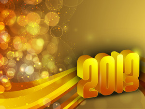 Stylized 2013 Happy New Year On Snowflake And Wave Background