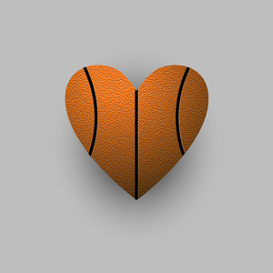 Stylized Basketball Ball - Heart