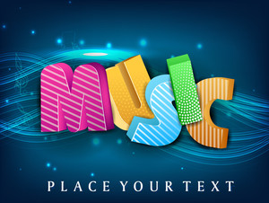 Stylized Colorful Text Music On Blue Wave Background.