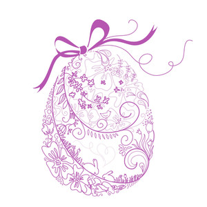 Stylized Easter Egg With Bow-