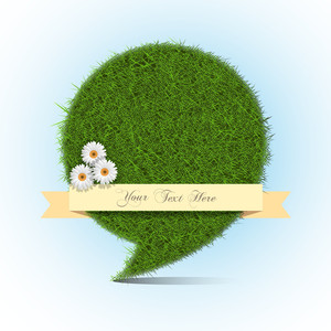 Stylized Grass Bubble Speech With Banner For Text