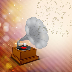 Stylized Musical Background With Gramophone And Music Notes
